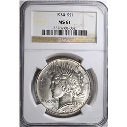 1934 PEACE SILVER DOLLAR, NGC MS-61