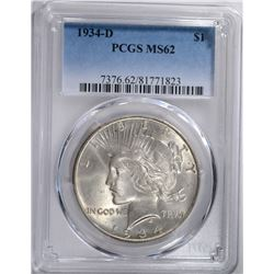 1934-D PEACE SILVER DOLLAR, PCGS MS-62
