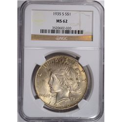 1935-S PEACE SILVER DOLLAR, NGC MS-62