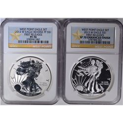 2013-W 2-PIECE WEST POINT AMERICAN SILVER EAGLE SET NGC GRADED: SEE DESCRIPTION