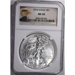 2014 AMERICAN SILVER EAGLE -  NGC MS70
