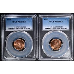 (2) 1995 LINCOLN CENT PCGS MS-67RD & MS-66RD