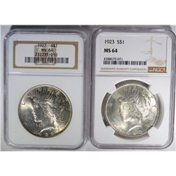 2 - 1923 PEACE SILVER DOLLAR - NGC MS64