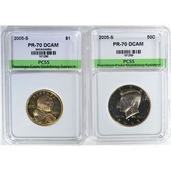 2005-S SACAGEWA DOLLAR & 2005-S KENNEDY HALF BOTH PCSS PERFECT GEM PROOF DCAM