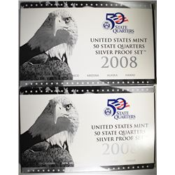 ( 2 ) 2008 U.S. SILVER QUARTER PROOF SETS IN ORIGINAL  PACKAGING