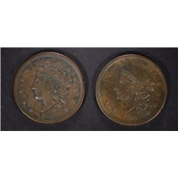 ( 2 ) 1838 LARGE CENTS, VF