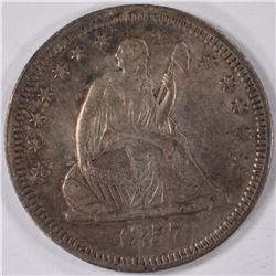 1857 SEATED QUARTER, XF