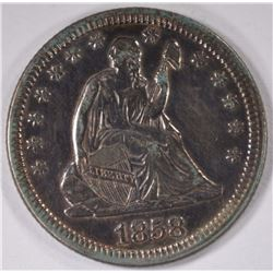 1858 SEATED QUARTER, AU cleaned