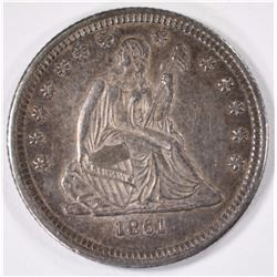 1861 SEATED LIBERTY QUARTER BU