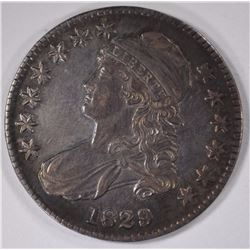 1829 CAPPED BUST HALF DOLLAR, AU/BU  PRETTY COLORS
