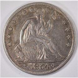 1854-O SEATED HALF DOLLAR, XF+