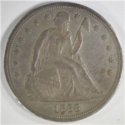 1866 SEATED LIBERTY DOLLAR, AU/BU