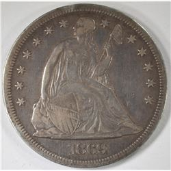 1869 SEATED LIBERTY DOLLAR XF
