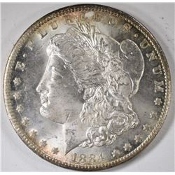 1884-CC MORGAN SILVER DOLLAR, CHOICE BU