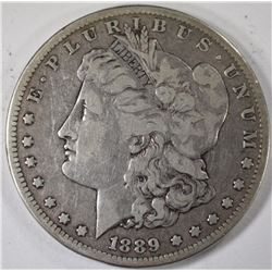 1889-CC MORGAN SILVER DOLLAR, FINE+ KEY DATE
