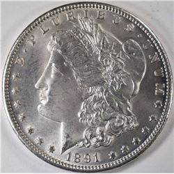 1891-CC MORGAN SILVER DOLLAR, CHOICE BU