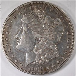 1892-S MORGAN SILVER DOLLAR, AU  KEY DATE!