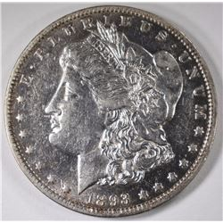 1893-O MORGAN SILVER DOLLAR, AU+  KEY DATE!
