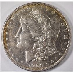 1901 MORGAN SILVER DOLLAR, AU+