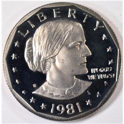 1981-S TYPE-2 SUSAN B. ANTHONY DOLLAR, GEM PROOF