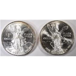 ( 2 ) 1985 MEXICO ONE OUNCE SILVER LIBERTADS