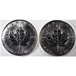 ( 2 ) VERY NICE 1988 BU CANADIAN ONE OUNCE .9999 SILVER MAPLE LEAF COINS