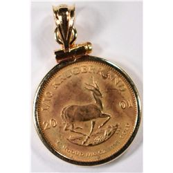 2001 1/10th OUNCE GOLD KRUGERRAND IN 14K GOLD BEZEL, BEZEL WORTH $50.00 ALONE