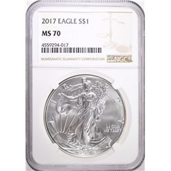 2017 AMERICAN SILVER EAGLE, NGC MS-70