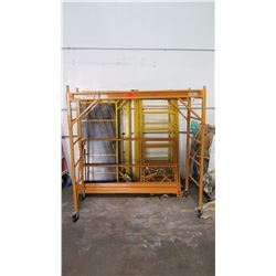 Qty 3 Portable Scaffolding w/Wheels (2 missing railings)