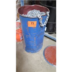 "Blue Drum Containing Long Legth Unused 3/8"" Galvanized Chain (Length Unknown)"