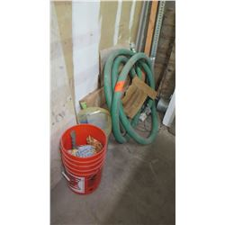 Orange Bucket w/Nails and Large Green Pump Hose