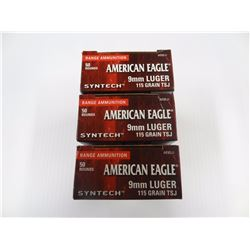150 ROUNDS AMERICAN EAGLE SYNTECH 9MM 115 GR TCJ