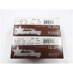 "20 ROUNDS KENT FIVE STAR 12GA 2 3/4"" 1OZ DEER SLUG"