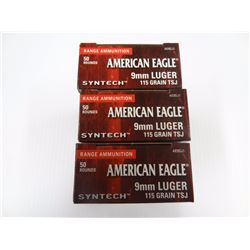 150 ROUNDS AMERICAN EAGLE SYNTHETIC 9MM 115 GR TCJ