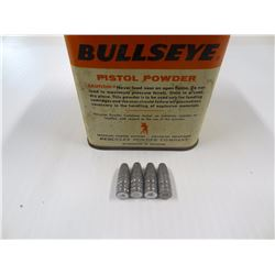 APPROX 50 LEAD BULLETS IN VINTAGE BULLSEYE PISTOL POWDER CAN