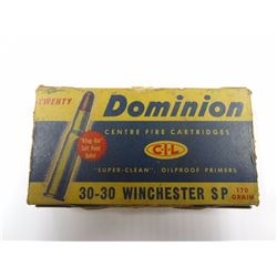 20 ROUNDS VINTAGE DOMINION 30-30 WIN 170 GR SP