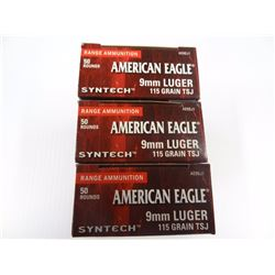 150 ROUND AMERICAN EAGLE SYNTECH 9MM 115 GR TSJ