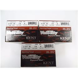 "75 ROUNDS KENT VELOCITY 20 GA 2 3/4"" 7/8 LOAD 8 SHOT"