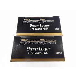 100 ROUNDS BLAZER BRASS 9MM 115 GR FMJ