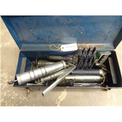 5 GREASE GUNS WITH TOOL BOX *NO SHIPPING*
