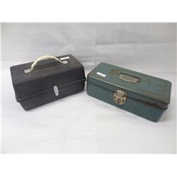 2 VINTAGE METAL TACKLE BOXES