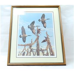 "FRAMED LARRY BARTON SIGNED ""TWELVE O'CLOCK HIGH"" PRINT"
