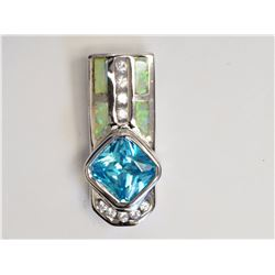 #3-STERLING SILVER CREATED OPAL, AQUAMARINE &