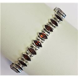 "#9-STERLING SILVER GARNET  (8.5"" INCH) ADJUSTABLE"