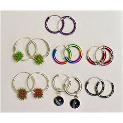 #10-ASSORTED 7 PAIR STERLING SILVER EARRINGS