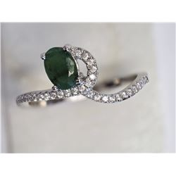 #13-STERLING SILVER EMERALD CUBIC ZIRCONIA