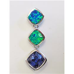 #15-STERLING SILVER TANZANITE CREATED OPAL
