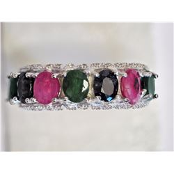 #21-STERLING SILVER RUBY, EMERALD, SAPPHIRE &