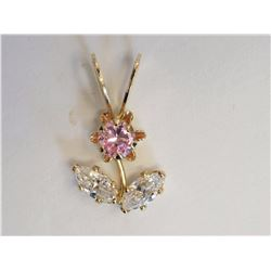 #22-10KT YELLOW GOLD PINK & WHITE CUBIC