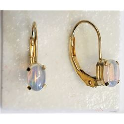 #26-10KT YELLOW GOLD OPAL (6X4MM) EARRINGS